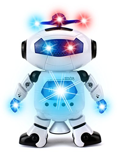 (Digital Dancing Warrior Toy Robot Figure w/ Colorful Rotating Lights, Music, Dancing Action, 360 Degree Spins)