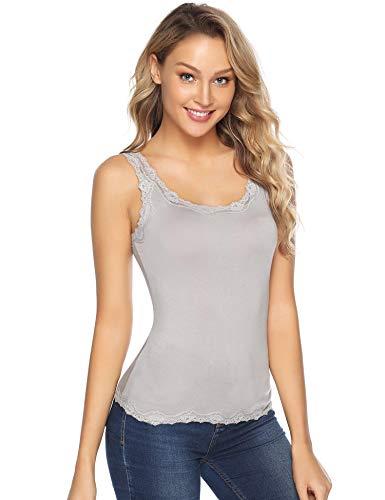 Aiboria Women Sleeveless Lace Trim Tank Top Casual Cami Shirt Grey