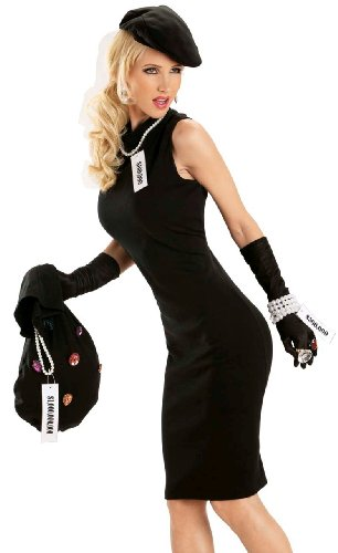 Escante Sexy Jewel Thief French Burglar Womens Halloween Costume XL Black ()