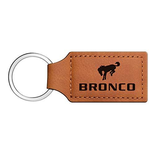 iPick Image - Ford Rectangular Brown Leather Key Chain - Bronco