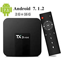 Mega1Comp - TX3 Mini Android 7.1 Smart TV BOX Amlogic S905W Quad Core 2G/16G Support 2.4GHz 64bits WifI 4K HD Set Top Box with Remote Control