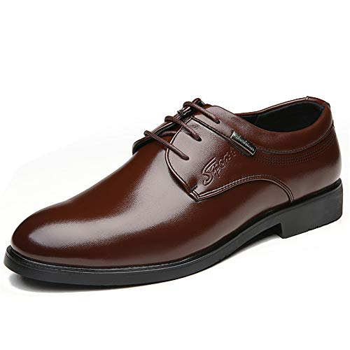 Mens Slip on Loafer Leather Oxford Formal Business Casual Comfortable Dress Shoes for Men(Brown 38/5.5 ()