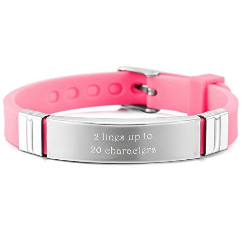 MeMeDIY Silver Tone Pink Stainless Steel Rubber Bracelet Bangle Adjustable - Customized Engraving Bangle Silver Id Bracelets