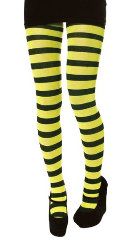 0fbfbdf3deaa7 Henbrandt Black and Neon Yellow Stripey Tights Ladies One Size New ...