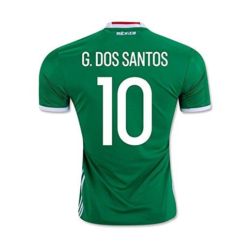 消毒する賃金スキッパーAdidas G. Dos Santos #10 Mexico Home Jersey Copa America Centenario 2016 - YOUTH/サッカーユニフォーム メキシコ ホーム用 ジュニア向け