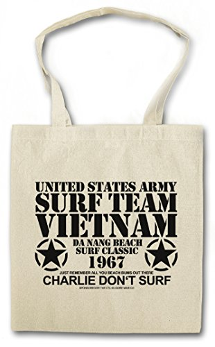 SURF TEAM VIETNAM II Hipster Shopping Cotton Bag Borse riutilizzabili per la spesa - Apocalypse Now guerre Charlie Don?t Surf Army Manson USA Hamburger Hill Vietcong