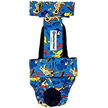 Barkertime Dog Diaper Overall - Made in USA - Dreamy Dog Escape-Proof Washable Dog Diaper Overall, S, With Tail Hole for Dog Incontinence, Marking, Housetraining and Females in Heat