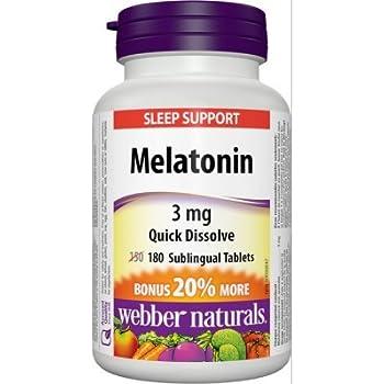Webber Naturals Melatonin Quick Dissolve, 3 mg, 180 sublingual tabs Bonus Size