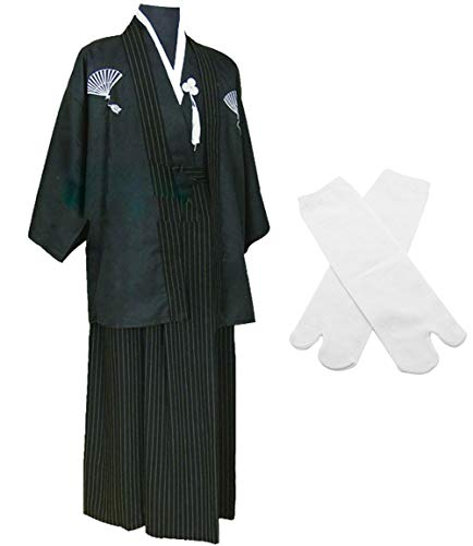 Japanese Kimono Samurai Hakama Bushi Mens Uniform with Tabi Socks Set(CHF010) Black L ()
