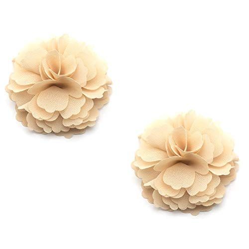 - Douqu High Heel Chiffon Ribbon Rose Flower Fashion Sandals Shoe Clips Charms Decoration Pair (Sand Color)