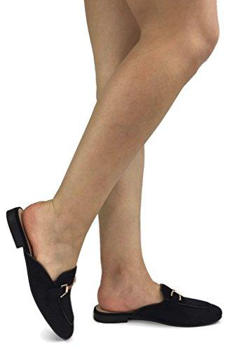 Women's Slip On Loafers Open Backless Closed Toe Low Heel