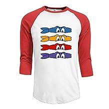 Z-Jane Ninja Tenagemutan Turtle 2 Women's Baseball Raglan Tshirt Size LRed