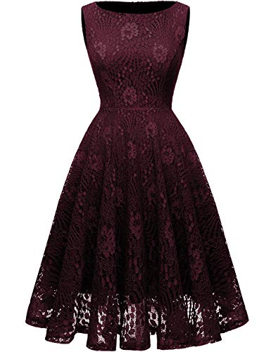 Kingfancy Guipure Lace Dresses, Lace Bridesmaid Dresses for Women Crew Neck Lace Wedding Dress for Evening Party Wine Red M]()