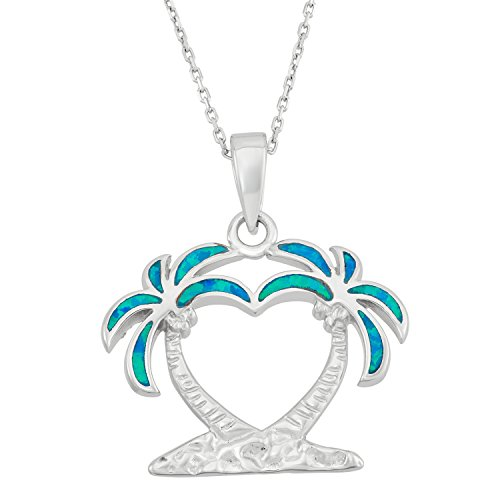 Sterling Silver Created Blue Opal Double Palm Tree Pendant with 18