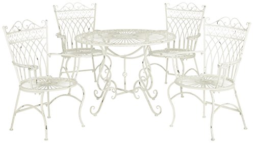 Thessaly 5 Piece Outdoor Dining Set, Antique White