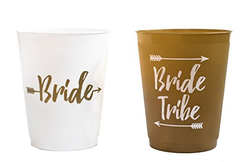 14 Bride and Bride Tribe Bachelorette Party Cups, Bridal Shower Cups for Bachelorette Party, Bridal Shower - White and Gold, 16 Ounces by M&E Bridal