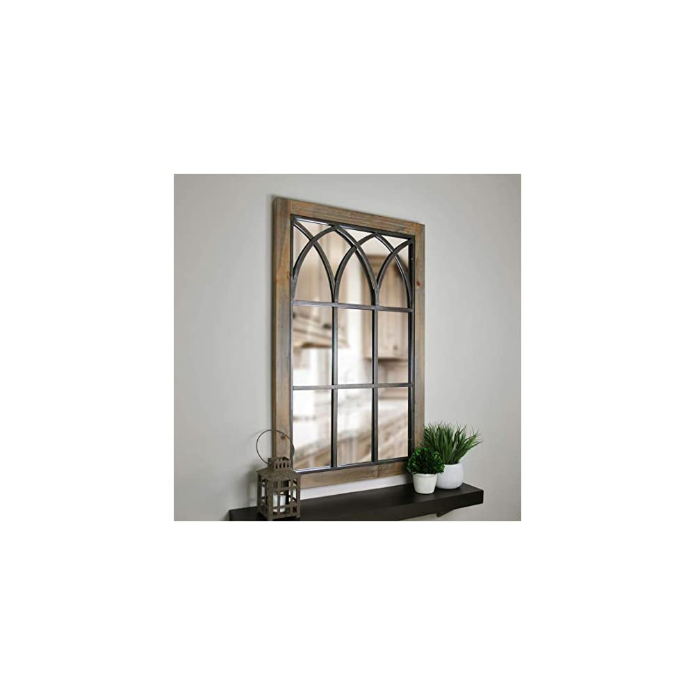 """FirsTime & Co. Grandview Arched Window Mirror, 37.5""""H x 24""""W, Weathered Brown"""