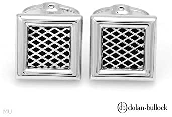 Dolan Bullock Stylish Cuff Links Beautifully Crafted In Black Enamel And925 Sterling Silver