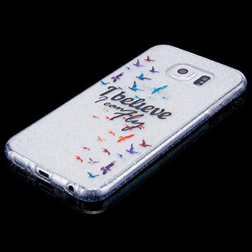 Funda Galaxy S6,SainCat Moda Alta Calidad suave de TPU Silicona Suave Funda Carcasa Parachoques Diseño pintado Patrón para Funda Barniz TPU Silicona Case Cover Caja Suave Gel Shock Absorción Anti Rasg Volar