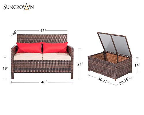 SUNCROWN Outdoor Furniture Wicker Love-seat with Coffee Table (2-Piece Set) Built-in Storage Bin | Comfortable, All-Weather Cushions | Patio, Backyard, Porch, Garden, Poolside