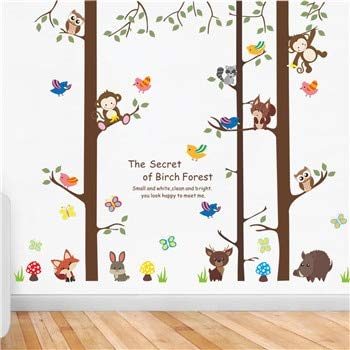 Amazon.com: Owl monkey wall sticker Forest Big Tree Animal ...