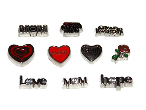 Mom / Grandma Floating Locket Charm Pack 10 Charms – Love My Grand Kids, Granddaughter, Family