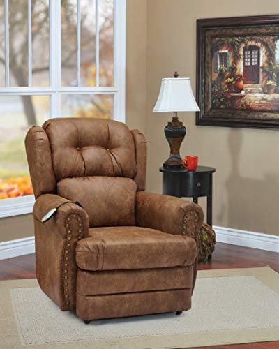 - Wall-a-Way Reclining Lift Chair with Decorative Nail Head Trim - Palance Chestnut