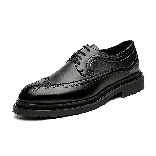 Geschäfts-Brogue-Schuhe der Männer PU schnüren Sich Oben Wingtip Dekoration-Starke Aussensohle Oxfords ! Schwarz