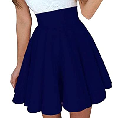Kingspinner Women's Party Mini Skirt High Waist A-Line Cocktail Skirt Skater Skirt