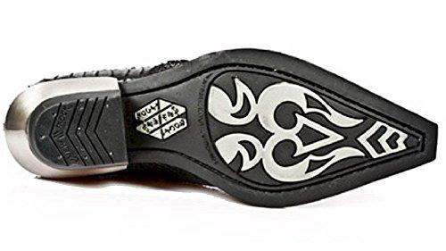 Stile Di Rock Con Pattino Nero Tallone Laterali Argento Pelle Cubano Coccodrillo Fibbie Smart Convenzionale Nuovo 8fn4qq