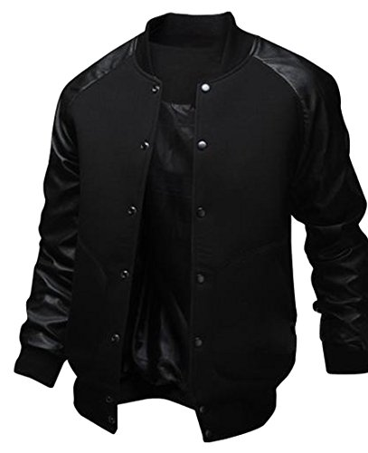 Abetteric Men's PU Leather Varsity Baseball Solid College Jacket Coat Black M