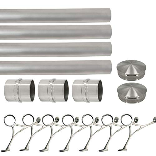 Solid Bar Foot Rail Kit (Extra Long, Custom-Made Item) - Brushed Stainless Steel Tubing (2 in OD, 30 ft Length) w/Internal Connector - Combination Foot Rail Brackets - Tapered End Caps