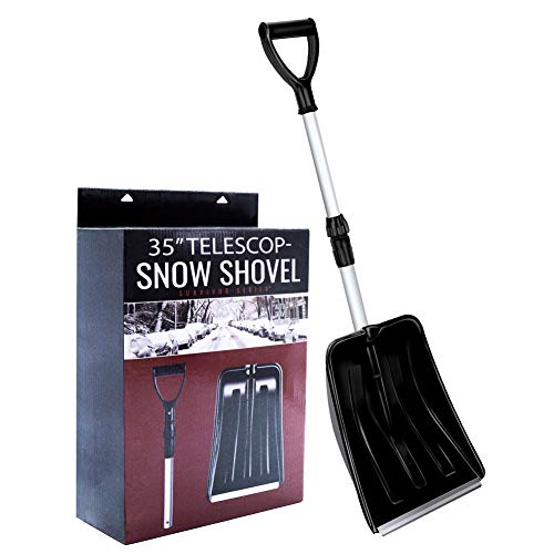 "ROUENOK Snow Shovel, Compact Snow Shovel with Adjustable Aluminum Handle and Durable Aluminum Edge Blade, 35"" Heavy Duty Portable Emergency Snow Shovel for Car Truck Camping and Outdoor Activities"