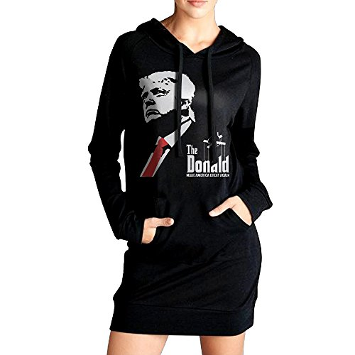 [Xero Women 2016 Donald Trump Sweatshirt Dress Pockets Tunic Top XL Black] (Wicked Musical Costumes Sale)