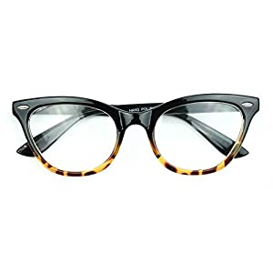 AStyles Vintage Inspired Half Tinted Frame Clear Lens Wayfarer Cat Eye Glasses (Black Brown Bottom, Clear)