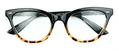 AStyles Vintage Inspired Half Tinted Frame Clear Lens Cat Eye Glasses (Black Brown Bottom, Clear)