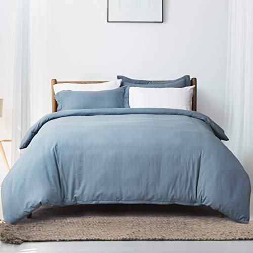 Bedsure Grayish Blue Duvet Cover Set Queen/Full Size Wrinkled Vintage Soft Duvet Cover with Zipper Microfiber Bedding Set (Queen Duvet Cover Blue)