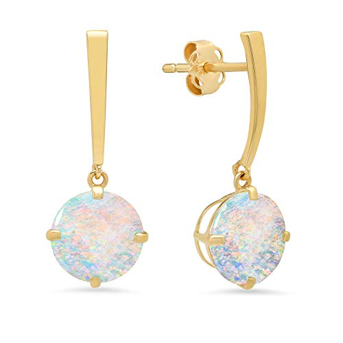 14k Yellow Gold Solitaire Round-Cut Created Opal Drop Earrings (8mm) ()