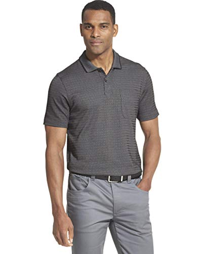 (Van Heusen Men's Flex Short Sleeve Stretch Stripe Polo Shirt, Black, Small)
