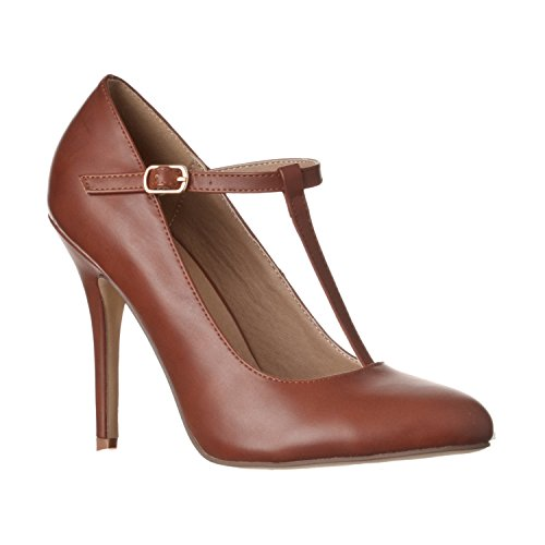 - Riverberry Women's Sadie Round Toe T-Strap High Heel Pumps, Brown PU, 9