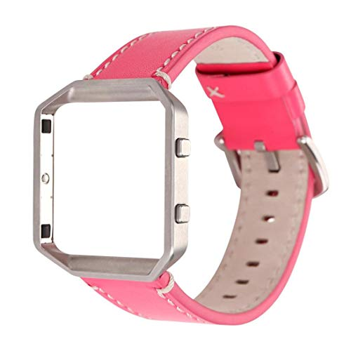 Price comparison product image for Fitbit Blaze Luxury Leather Watch Band Wrist Strap+Metal Frame, Outsta Fashion Wrist Strap Bracelet Accessories Women Men Multicolor (Hot Pink A)