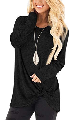 Camisa de manga larga para mujer, lisa, con nudo lateral, de punto de túnica y blusa, Negro, M