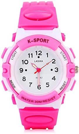 AZLAND Candy-colored Digital Quartz Sports Watch for Children,Arabic Numerals Dial girls watches,Pink Silicon Strap