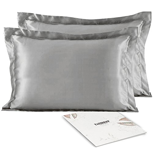 YANIBEST Silky Satin Pillowcase Set of 2 for Hair and Skin with Envelope Closure, Standard Queen Satin Pillow Cases Cover (Standard, Grey)