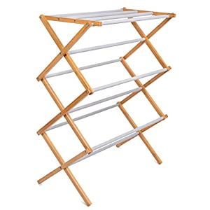 BirdRock Home Folding Steel Clothes Drying Rack | 3 Tier | Water-Resistant Bamboo Wood | Fully Assembled Collapsible Dry Rack | Grey