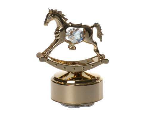 Rocking Horse 24k Gold-Plated Swarovski Crystal Rotating Musical Figurine - Mini Horse Music Box