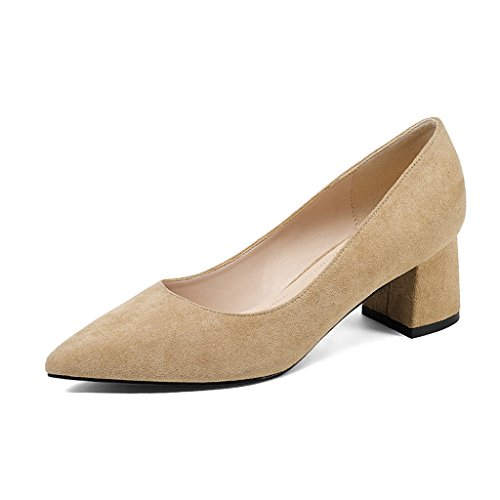HWF Zapatos para mujer Spring Shallow Mouth Single Thick Heels Acentuados Zapatos de mujer Commuter High-heeled Zapatos profesionales Female ( Color : Negro , Tamaño : 39 ) Apricot Color