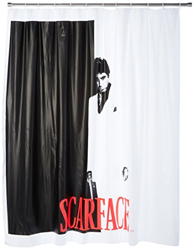 JPI Black White Red Scarface (Tony Montana) Shower Curtain with 12 Hooks Set