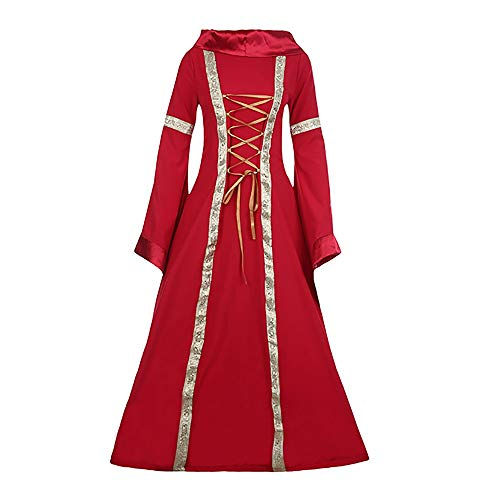 Halloween Women Medieval Dress Renaissance Lace Up Vintage Style Gothic Dress Floor Length Women Hooded Cosplay Dresses Retro (Red B, 2XL)