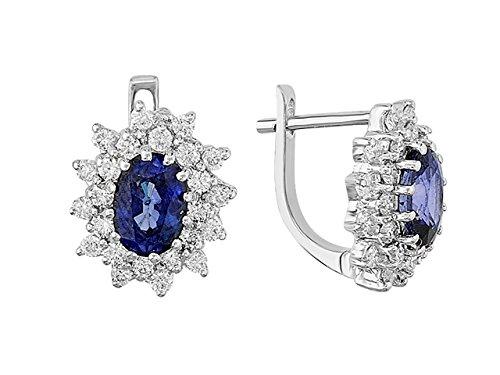 Boucles d'Oreilles Saphirs et Diamants-Femme- or Blanc 207E0018